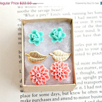 ON SALE 3 sweet post earrings. gift set. flowers. leaves. boho