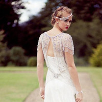 Jenny Parkham Inspired Vintage Tulle  Beaded Beading Crystals Wedding Dress Bridal Gown A LINE Cap Sleeves Open Back Dress