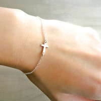 Sideways Cross Bracelet Mini / Tiny Sterling Silver by Beazuness