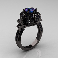 Classic Yeva 14K Black Gold 1.0 CT Russian Chrysoberyl Alexandrite Crown Solitaire Bridal Ring Y303C-14KBGBDAL
