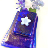 Royal Blue Fused Glass Magnet Vase LI 308