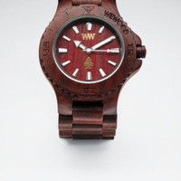 brown natural wooden watch