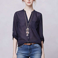 Anthropologie - Indigo-Ruled Buttondown