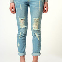 Lexi Distressed Boyfriend Fit Jeans