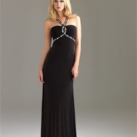 Beaded Strap Empire Drape Open Back Black Floor-length Prom Dress PD0889