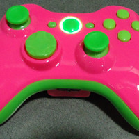 Custom New Xbox 360 Wireless Controller - Glossy Pink & Green