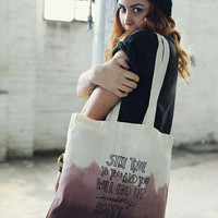 Dark Brown Handmade Dip Dyed and lettered Cotton Bag -Stay True to you..