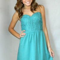 Ana Sweetheart Dress (Teal) | Girly Girl Boutique