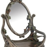 Amazon.com: 11 inch Art Nouveau Pewter Look Vanity Mirror adorned with rosebuds: Home & Kitchen