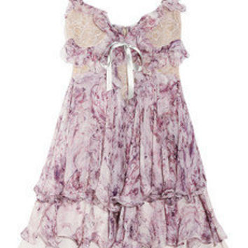 Ruffled printed silk chiffon mini dress