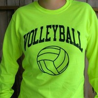 Neon Volleyball Long Sleeve T-shirt (Color/Size=Yellow-Large): Sports &amp; Outdoors