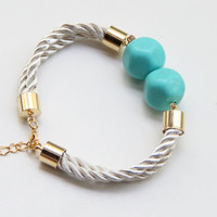Gold White Silk cord Bracelet with 2 Teal Turquoise vintage beads - 24k gold plated
