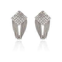 Silver tone chain and diamante earrings
