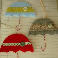 Christmas Umbrella Ornament by OIive on Etsy