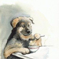 Kibble Every Day dog art watercolor pet by amberalexander on Etsy