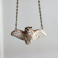 Great horned owl in flight necklace MADE TO ORDER