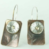 Hammered Earrings Flower Mixed Metal Sterling and by ExCognito