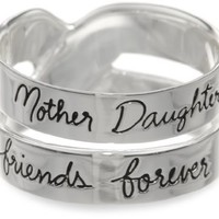 Sterling Silver &amp;quot;Mother Daughter Friends Forever&amp;quot; Double Band Ring: Jewelry