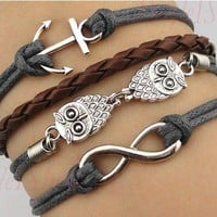 Owl anchor infinity hand-woven leather cord bracelet