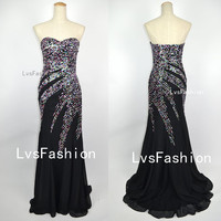 Long Strapless Sweetheart with Sequined Chiffon by LvsFashion