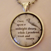 The Raven Edgar Allan Poe Necklace Once Upon by EvangelinasCloset