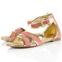 HERBIE Gold Trim Suede Sandals - View All  - Shoes  - Topshop USA