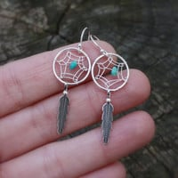 Dreamcatcher Earrings - Sterling Silver Dream Catcher Dangles . Jewelry . Earrings . Native American . Tribal . Bohemian