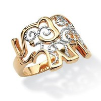 Amazon.com: PalmBeach Jewelry Filigree Elephant Ring in 18k Gold-Plated: Jewelry