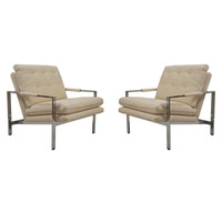 Milo Baughman Flat-Bar Lounge Chairs in Silk and Linen