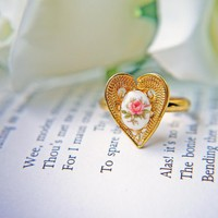 Vintage Heart Shape Ring In Gold. Vintage Pink Rose Cabochon. Romantic. Adjustable Ring