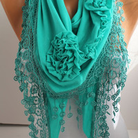 New- Mint Combed Cotton Rose Shawl/ Scarf - Headband -Cowl with Lace trim