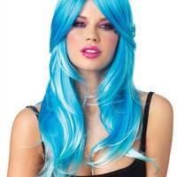 Leg Avenue Blue Glowing Two Tone Wig - Brightly Colored Rave Wigs from RaveReady