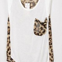 Leopard Patchwork Sleeveless White Chiffon Blouse