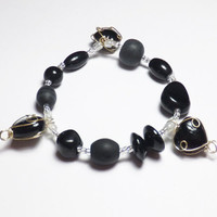 Black Heart Glass Sweetheart Valentine Beadwork Stretch Bracelet