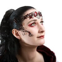 Black vine circlet with red leaves