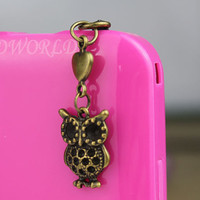 3.5mm Bronze Little Heart And Owl  Dust-proof Plug For iphone 5,iphone 4s,iPhone 4,iPhone 3gs,iPod Touch 4,HTC,Nokai,Samsung,Sony-N1115