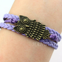 Bronze Owl Bracelet Purple Bracelet Friendship Bracelet Jewelry personalized Gift -N1118
