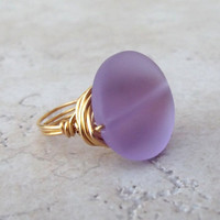 Purple Sea Glass Ring:  24K Gold Wire Wrapped Lavender Beach Jewelry, Size 7