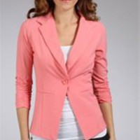 Coral 3/4 Sleeve Blazer