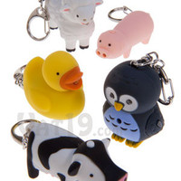 Duck, Pig, Cow, Owl, and Sheep Keychains with LED Light