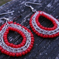 Red Bead Wire Weave Earrings