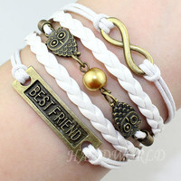 Infinity Bracelet Best Friend Bracelet Owl Bracelet White Rope Bracelet White Leather Bracelet Personalized Bracelet-N1131