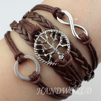 Silvery Karma Bracelet Tree of life Bracelet Wish Bracelet Brown Leather Bracelet Rope Bracelet Personalized Adjustable-N1132