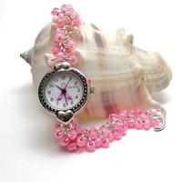 Pink Breast Cancer Awareness Beaded Chainmail Watch Bracelet