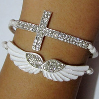 Bracelet-Diamonds bracelet / Angel&#x27;s Wing Bracelet / Cross bracelet