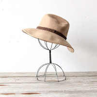 Girls Vintage Tan Wool Hat. Size XS