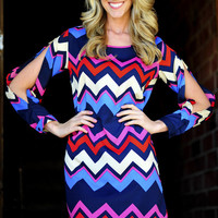 For The Love Of Chevron Slit Dress: Navy | Hope&#x27;s