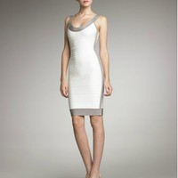 Herve Leger Contrast-Trim Basic Bandage Dress - &amp;#36;249.00