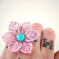 Large Cotton Candy Pink Flower Ring by WolfbirdStudios on Etsy