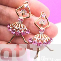 Cute Ballerina Dancer Ballet Dangle Earrings with Pink Rhinestones